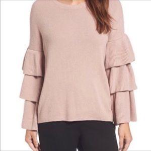 Halogen Ruffle Sleeve Sweater